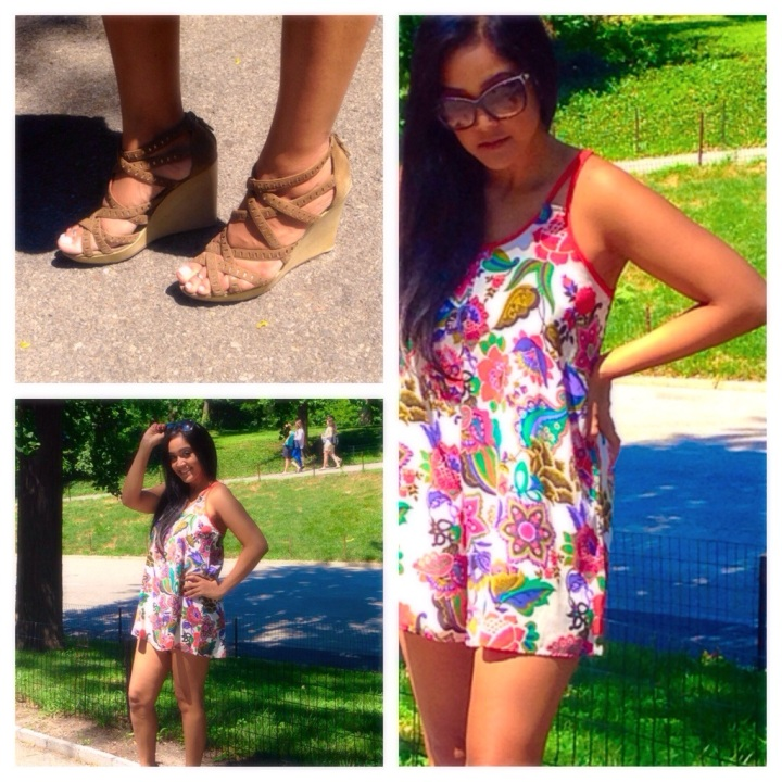 Brunch Outfit: Printed Romper & Wedges
