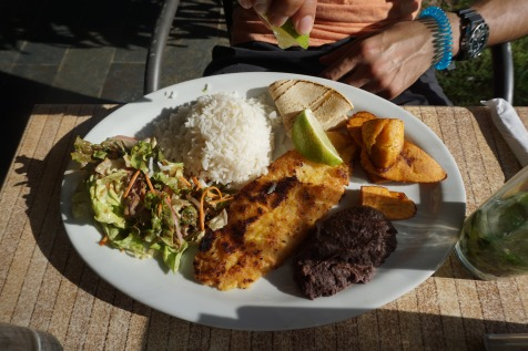 A casado is a Costa Rican meal using rice, black beans, plantains, salad, and a tortilla